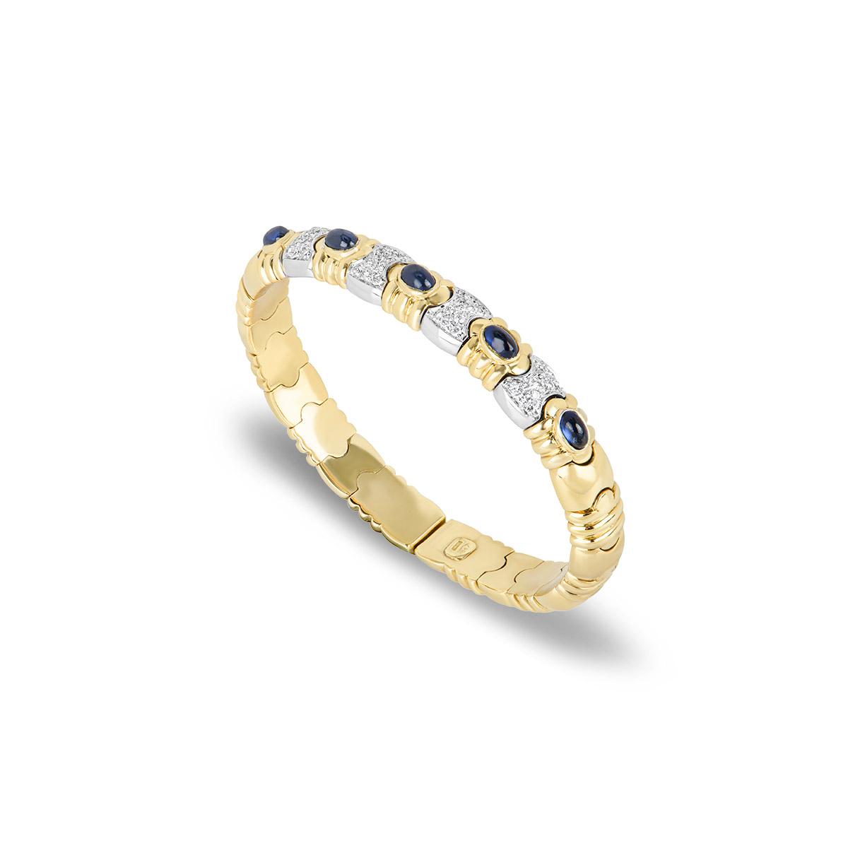Yellow & White Gold Sapphire and Diamond Cuff Bangle